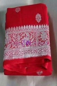 Red pure chiffon banarasi silk sarees