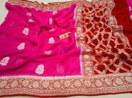 Dark pink with red pure chiffon banarasi silk sarees