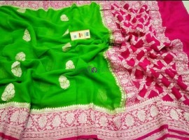 Green and pink pure chiffon banarasi silk sarees