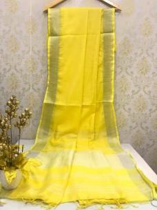 Yellow slub linen plain