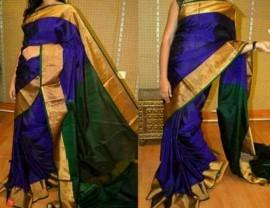 Dark blue with dark green plain uppada silk sarees