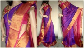 Purple with pink plain uppada silk sarees