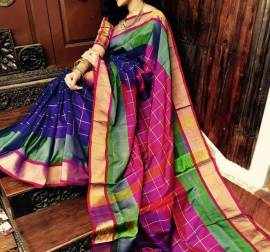 Blue with dark magenta uppada special border checks sarees