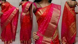 Pink color uppada sarees with butti