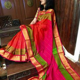 Orange with pink uppada special border checks sarees