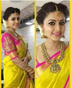 yellow with pink plain uppada tissue silk sarees