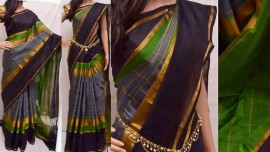 Grey with black uppada checks silks sarees
