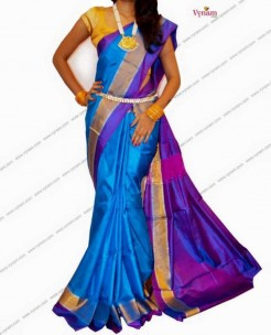 Blue colour uppada plain silk sarees