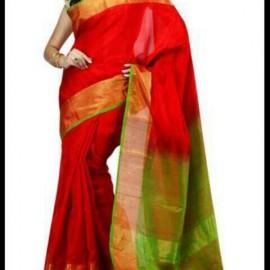Red color uppada plain silk sarees