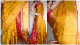 Gold color uppada tissue silk sarees