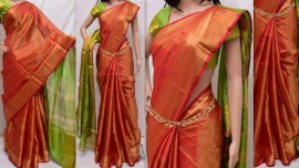 Red and green uppada tissue sarees