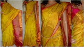 Yellow colour uppada plain tissue sarees
