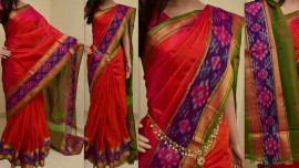 Red uppada sarees with pochampally border