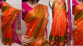 orange with pink uppada special border sarees with butti