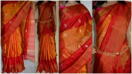 Orange with red uppada special border silk saree with butti