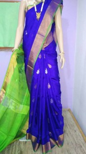 Royal blue with green uppada sarees with butti