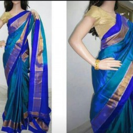 Blue with royal blue uppada plain silk sarees