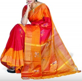 Dark pink with light orange uppada jamdhani silk sarees