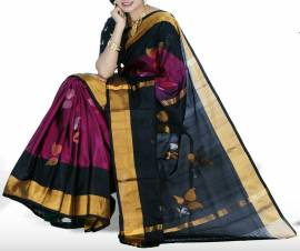 Violet with black uppada jamdhani silk sarees