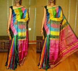 Multi-color uppada tissue sarees