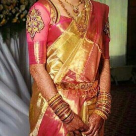 Golden color with pink uppada tissue sarees