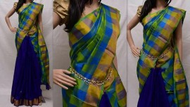 Blue and green uppada checks half and half saree