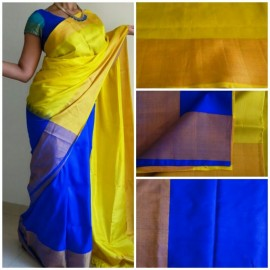 Uppada yellow and blue color half saree model