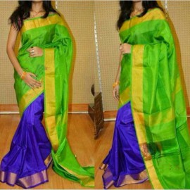 Green and blue uppada half and half pattu sarees