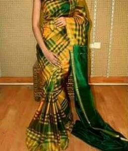 Dark green with yellow small checked uppada silk sarees