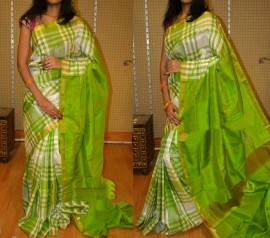white with light green small checked uppada silk sarees