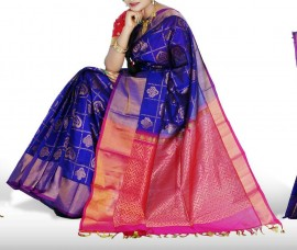 Royal blue with pink checks kuppadam sarees