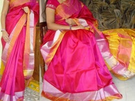 Pink with silver and gold border uppada silk sarees