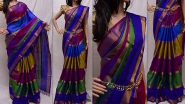Royal blue and multi-colour uppada sarees