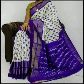 White with royal blue pochampalli ikkat sarees