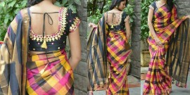 Yellow and black uppada full checks sarees