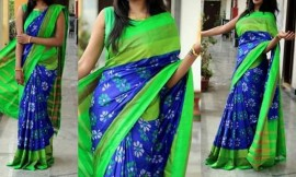 Blue with light green pochampalli ikkat sarees