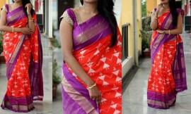 Red with purple pochampalli ikkat sarees
