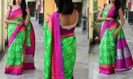 Light green with purple border pochampalli ikkat sarees