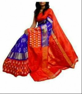 Royal blue with red pochampalli ikkat sarees