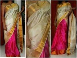 Cream and pink uppada half and half uppada pattu sarees