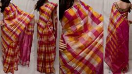 Dark pink and white uppada full checks sarees