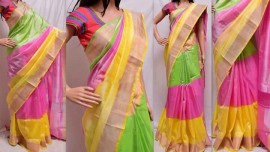 pink with green and yellow uppada sarees