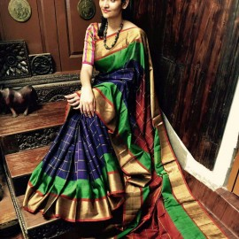Navy blue with maroon uppada special border checks sarees