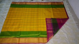 yellow with dark pink uppada special border checks sarees