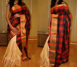 Cream and red uppada checks half and half sarees