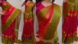 Pink and Orange uppada checks silks sarees