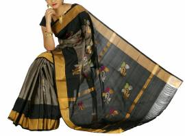 Grey with black uppada jamdhani silk sarees