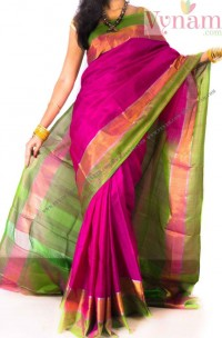 Dark pink with green uppada plain saree