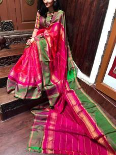 Dark pink with green uppada checks silks sarees