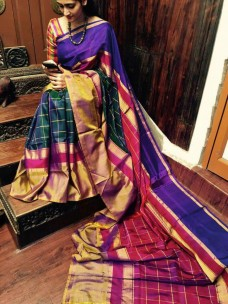 Dark green with red uppada checks silks sarees